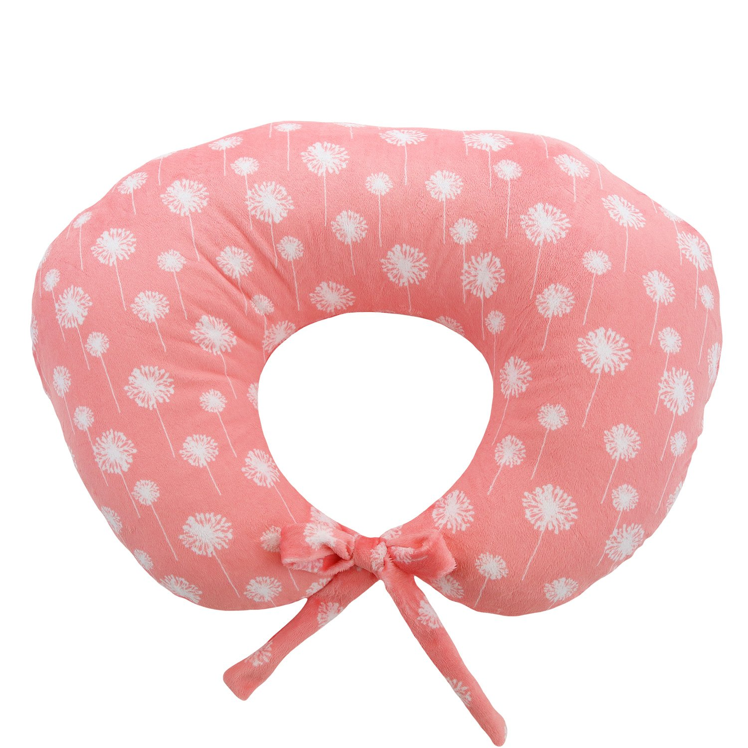 My Blankee Nursing Pillow with Dandelion Minky Slipcover, Coral, Small/Medium