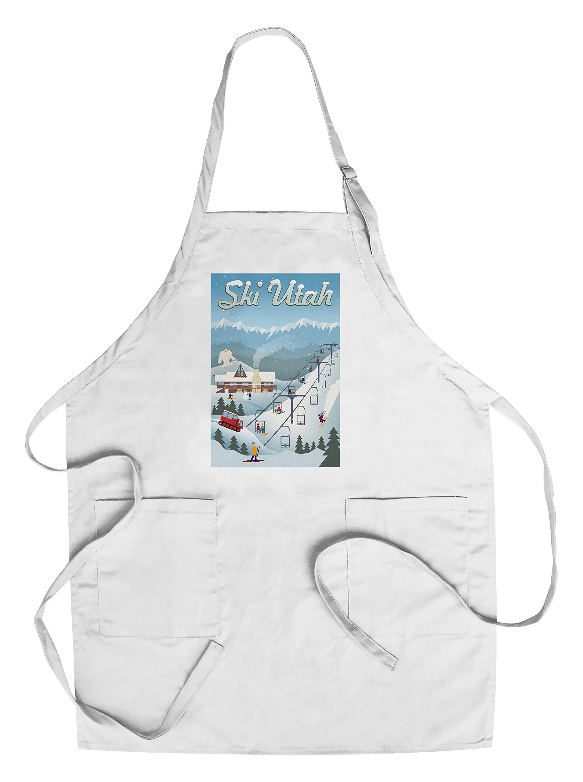 Ski Utah - Retro Ski Resort (Cotton/Polyester Chef's Apron)