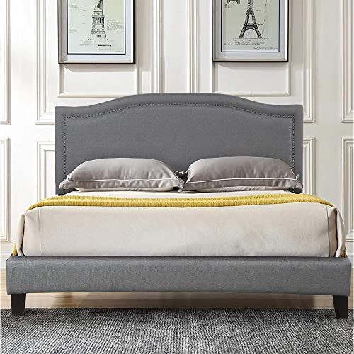 FLIEKS Upholstered Platform Bed Frame Mattress Foundation with Wooden Slat Support and Diamond Button Tufted Headboard Grey, King