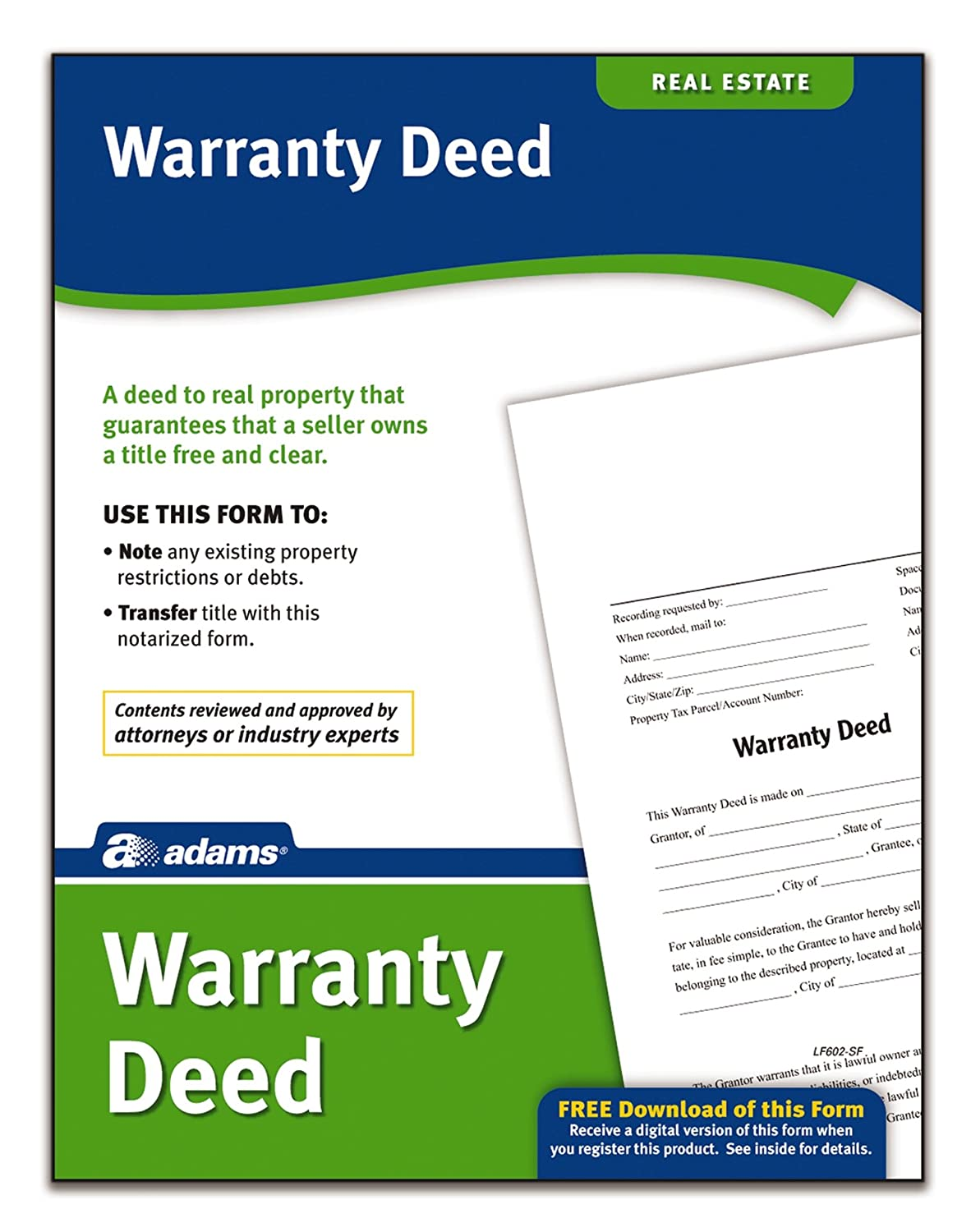 Amazon.com : Adams Warranty Deed, Forms And Instructions (LF602) : Legal  Forms : Office Products