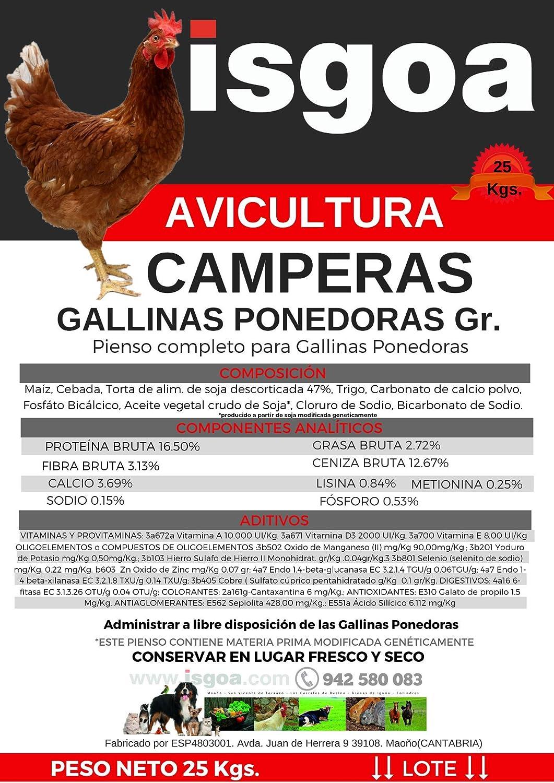 Pienso GALLINAS Camperas Granulado Saco 25 Kg. Isgoa