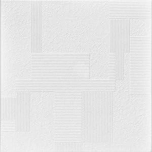 A la Maison Ceilings R187 Vectors Foam Glue-up Ceiling Tile (21.6 sq. ft./Case), Pack of 8, Plain White