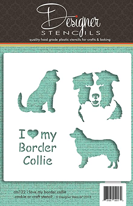 Amazon Com I Love My Border Collie Cookie And Craft Stencil Cm122