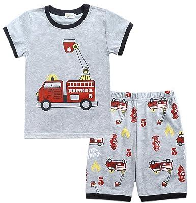 16cde039538c Amazon.com  Boys Pajamas Train 100% Cotton Toddler Pjs 2 Piece Kids ...