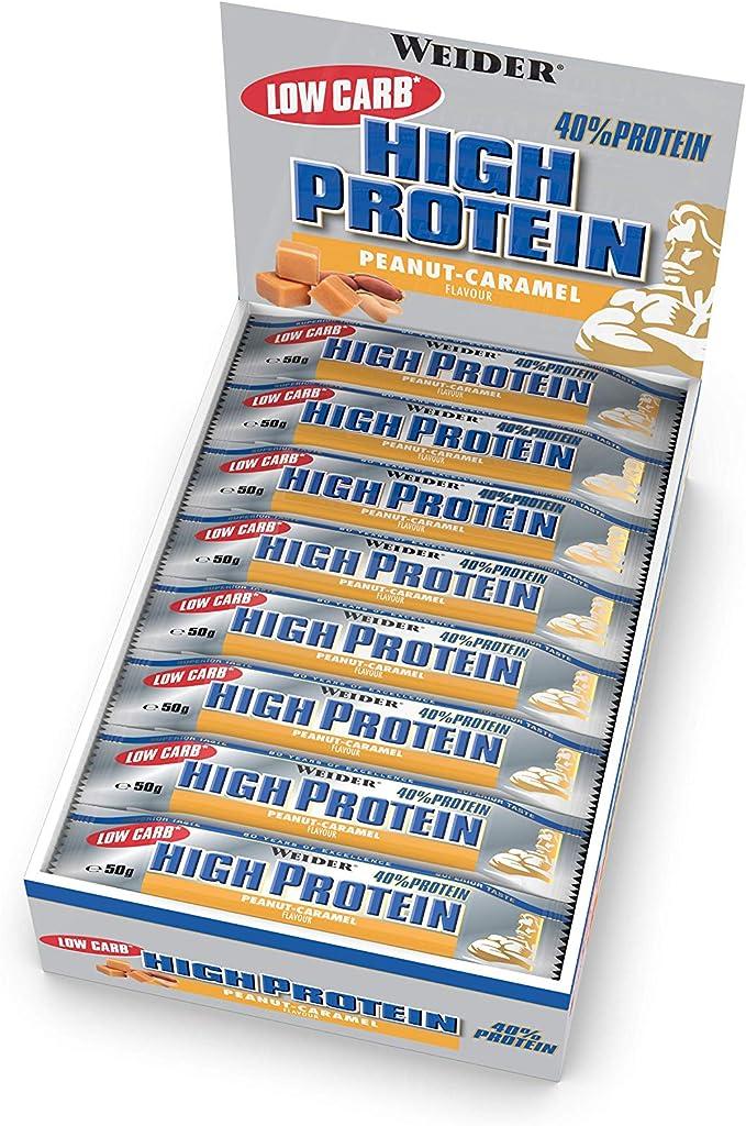 Weider 40% Protein Low Carb. Barrita alto contenido en proteínas sin hidratos de carbono. 40% de proteínas por barrita. Sabor cacahuete-caramelo (24 x ...