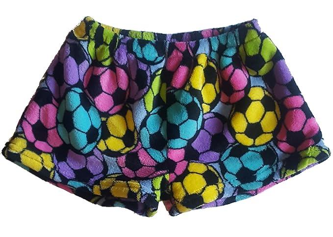 f62bc395ae00 Confetti and Friends Fuzzy Plush Shorts - Rainbow Soccer - 5 6
