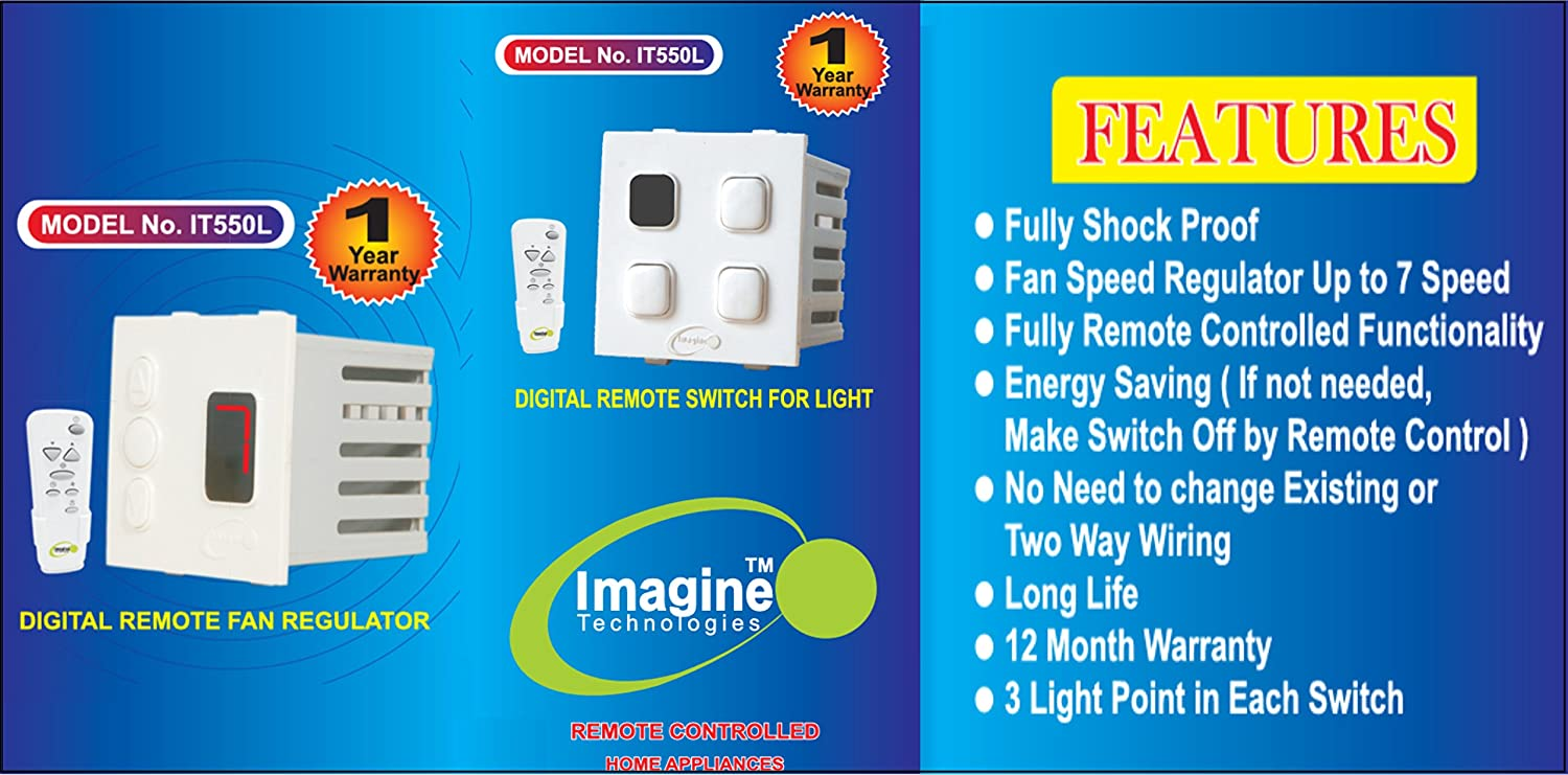 REMOTE CONTROL SWITCH BOARD FOR 3 LIGHT 1 FAN WITH LED NIGHT LAMP ...