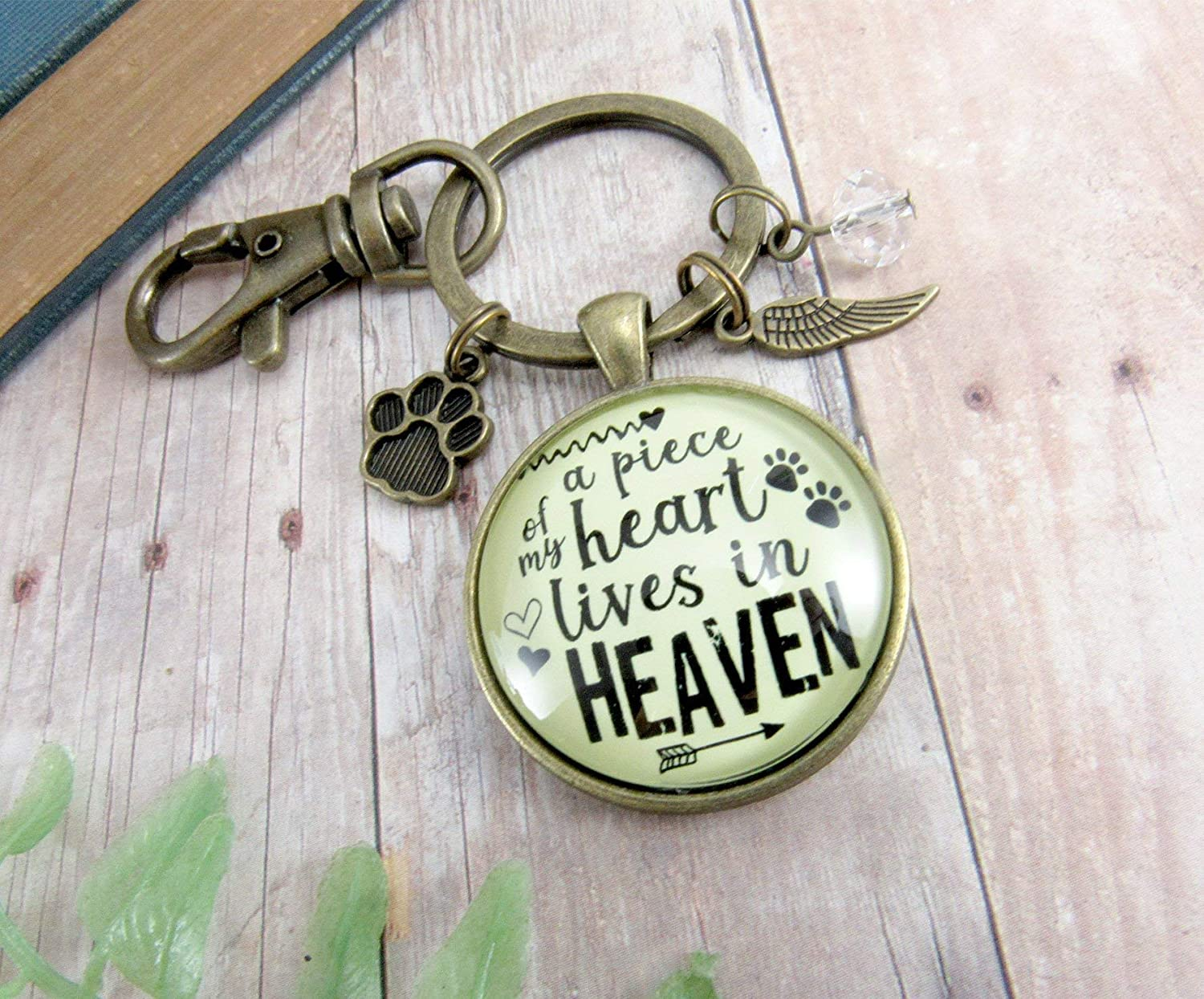 Pet Memorial Keychain A Piece Of My Heart Gift Angel Wing Paw Charm Cat Dog Remembrance  Jewelry For Women c7c427df4
