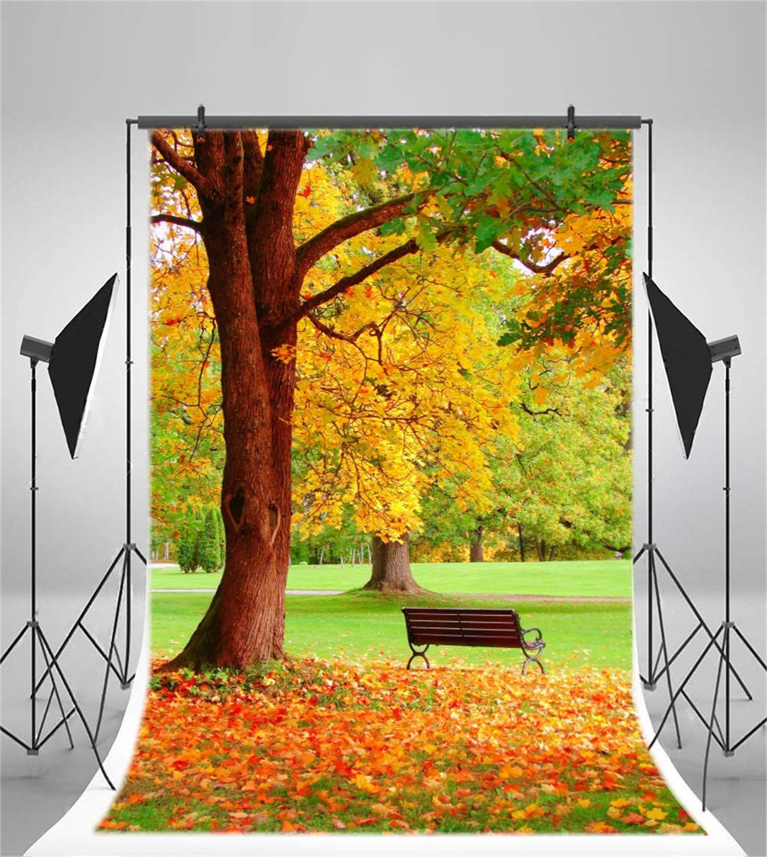 Csfoto 4x6ft Background For Autumn Park Landscape Photography Backdrop Yellow Fallen Leaves Wooden Bench Nature Scenery Walk Picnic Leisurely Holiday