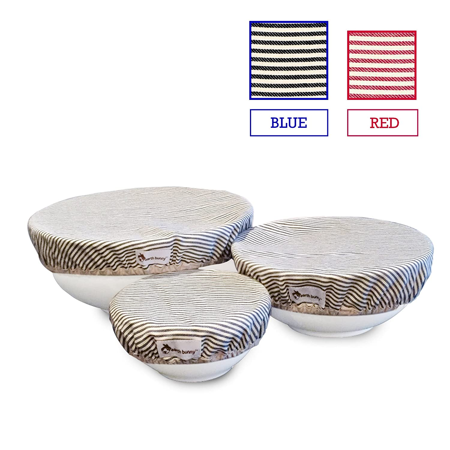 Earth Bunny Fabric Bowl Covers - Blue Stripes   Set of 3 - Small, Medium, Large   100% Cotton Cloth with Elastic Edging   Eco Friendly, Washable and Reusable