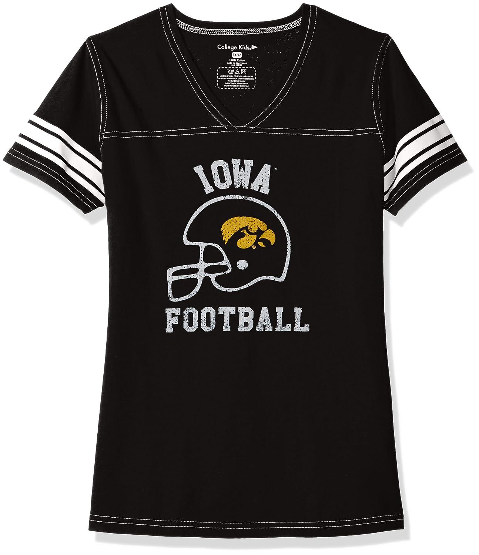 College Kids NCAA Girls V Neck Short Sleeve Football Tee
