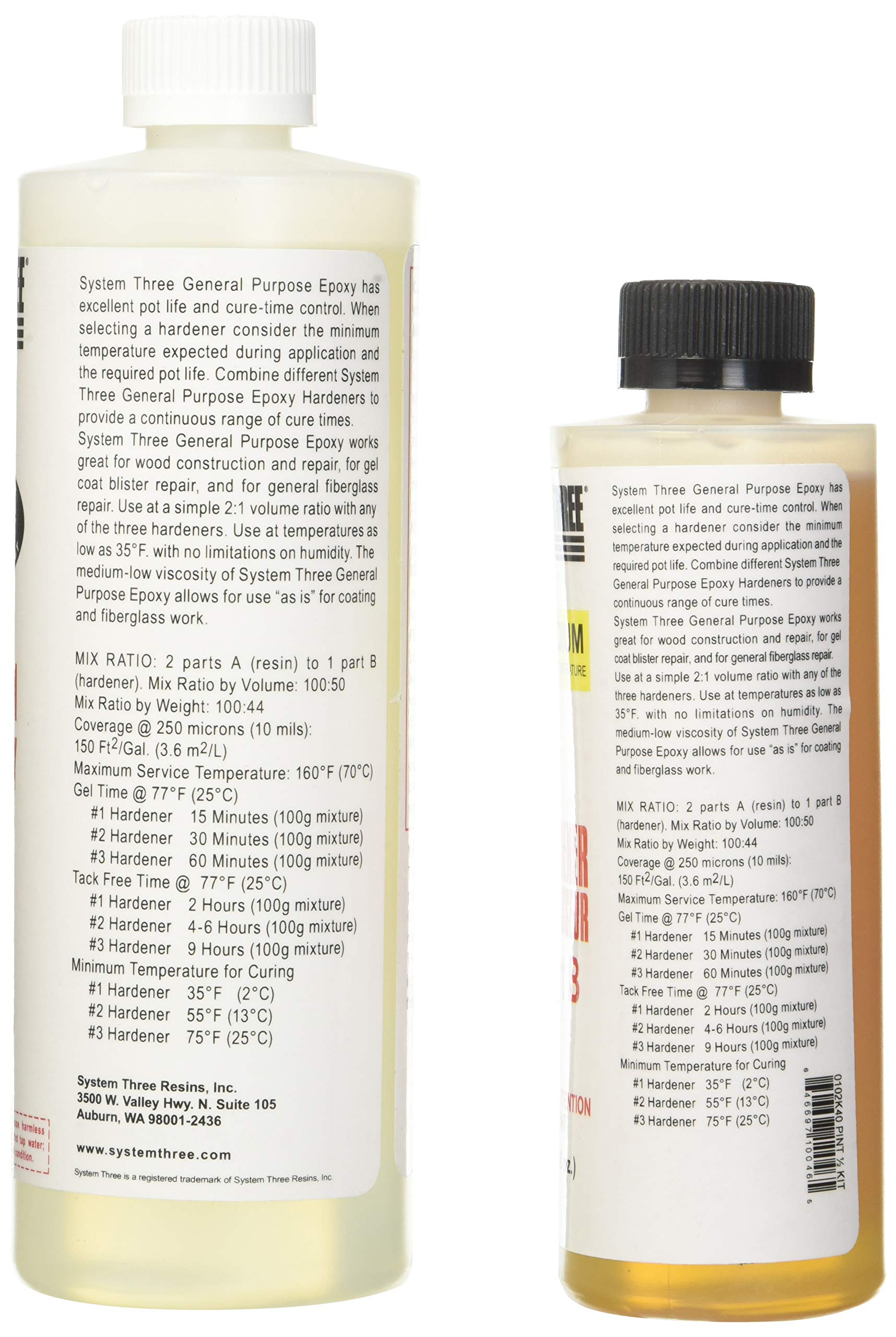 System Three 0102K40 General Purpose Epoxy Kit with #2 Medium Hardener, 1.5 Pints, Medium Amber by System Three (Image #3)