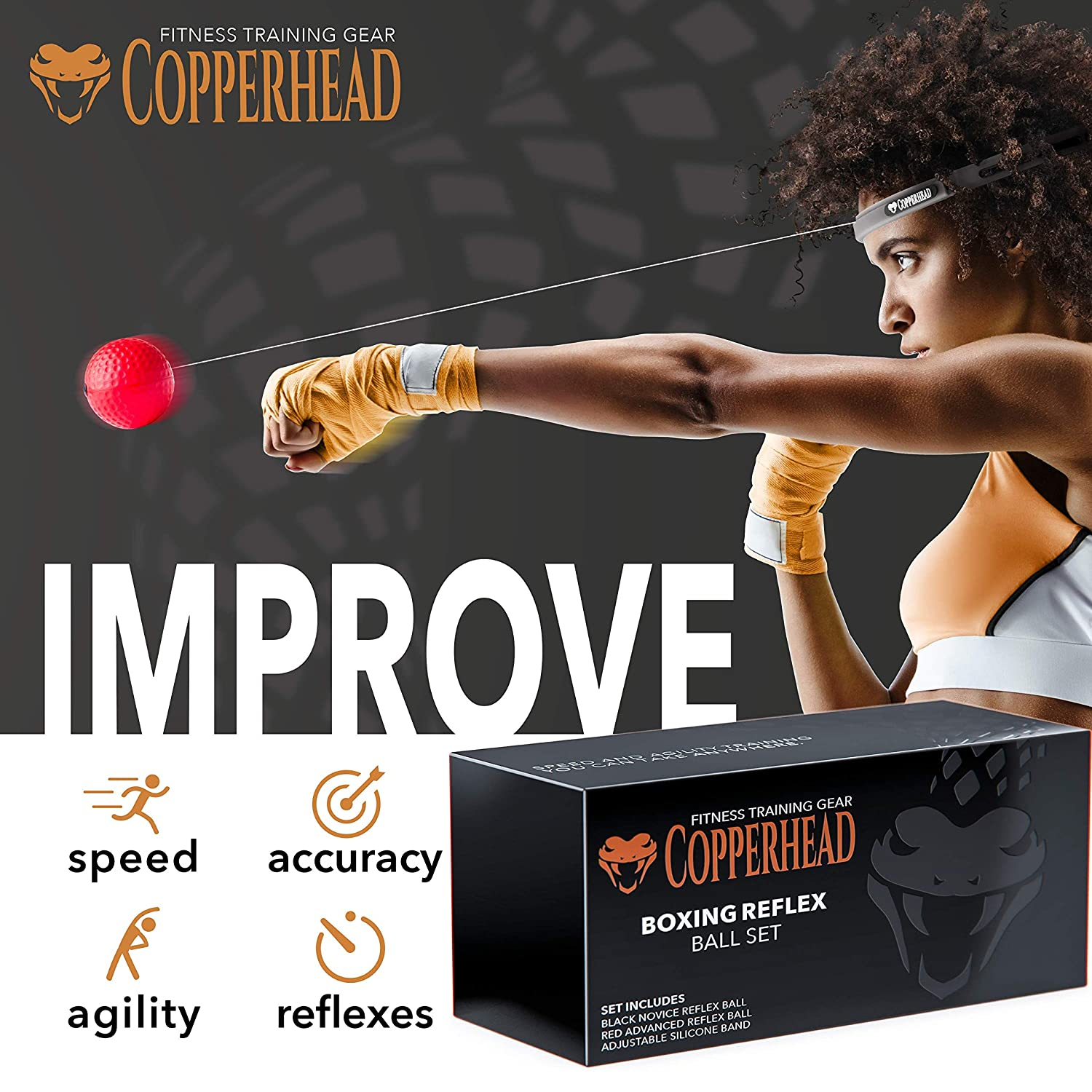 Amazon.com: Copperhead Boxing Reflex - Banda de cabeza de ...