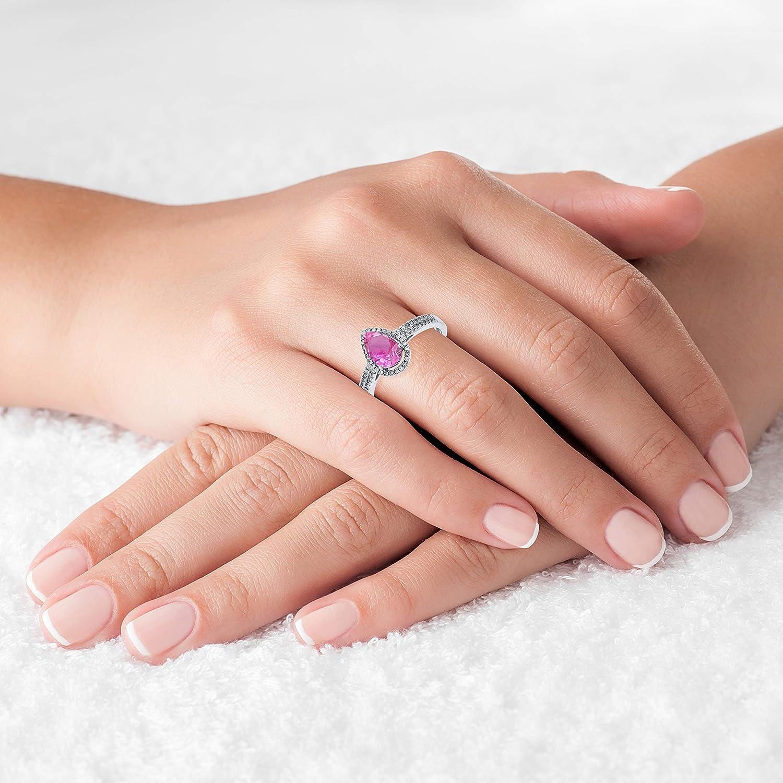 Sterling Silver Rhodium 0.20 CTTW Round Diamond /& 8x5mm Pear Cut Gemstone Halo Ring