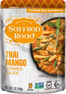 product image for Saffron Road Thai Mango Simmer Sauce, 7oz (Pack of 8) - Gluten Free, Halal, Non-GMO, Kosher, Vegan