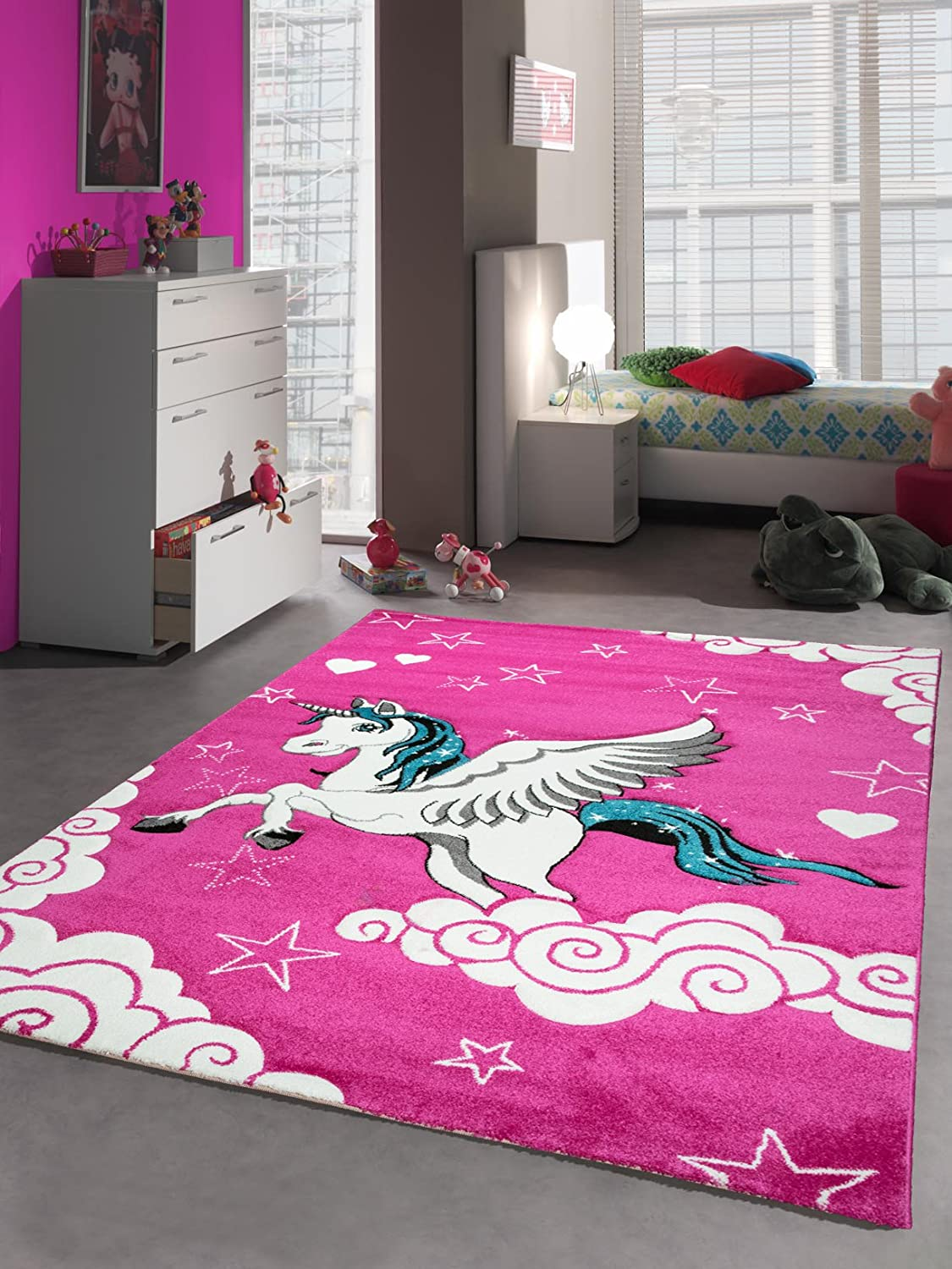 Kids rugs children´s carpet unicorn pink size 80x150 cm Carpetia
