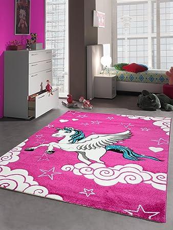 Kinderteppich Spielteppich Kinderzimmer Teppich Einhorn Design Mit Konturenschnitt Pink Creme Turkis Grosse 80x150 Cm