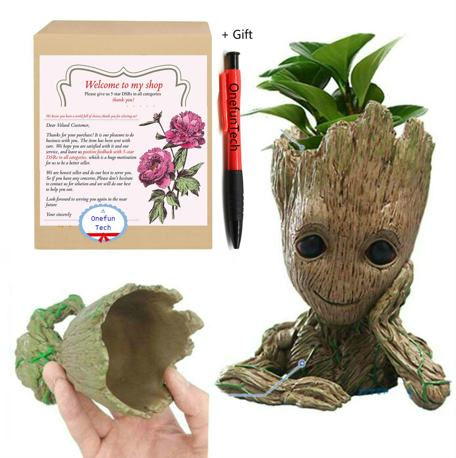 OnefunTech Groot Planter, Baby Groot Flower Pot Plant Pot Tree Man Pen Container Guardians of The Galaxy Action Figures