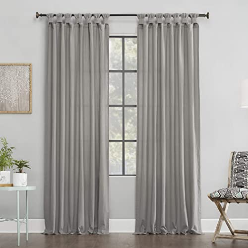 Archaeo Washed 100 Cotton Twist Tab Curtain, 52 x 95 Panel, Silver Gray