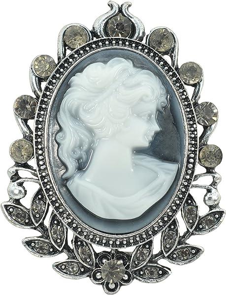 89e34455d Gyn&Joy Matte Silvery Tone Vintage Cameo Victorian Lady Maiden Crystal  Rhinestone Brooch Pin BZ092