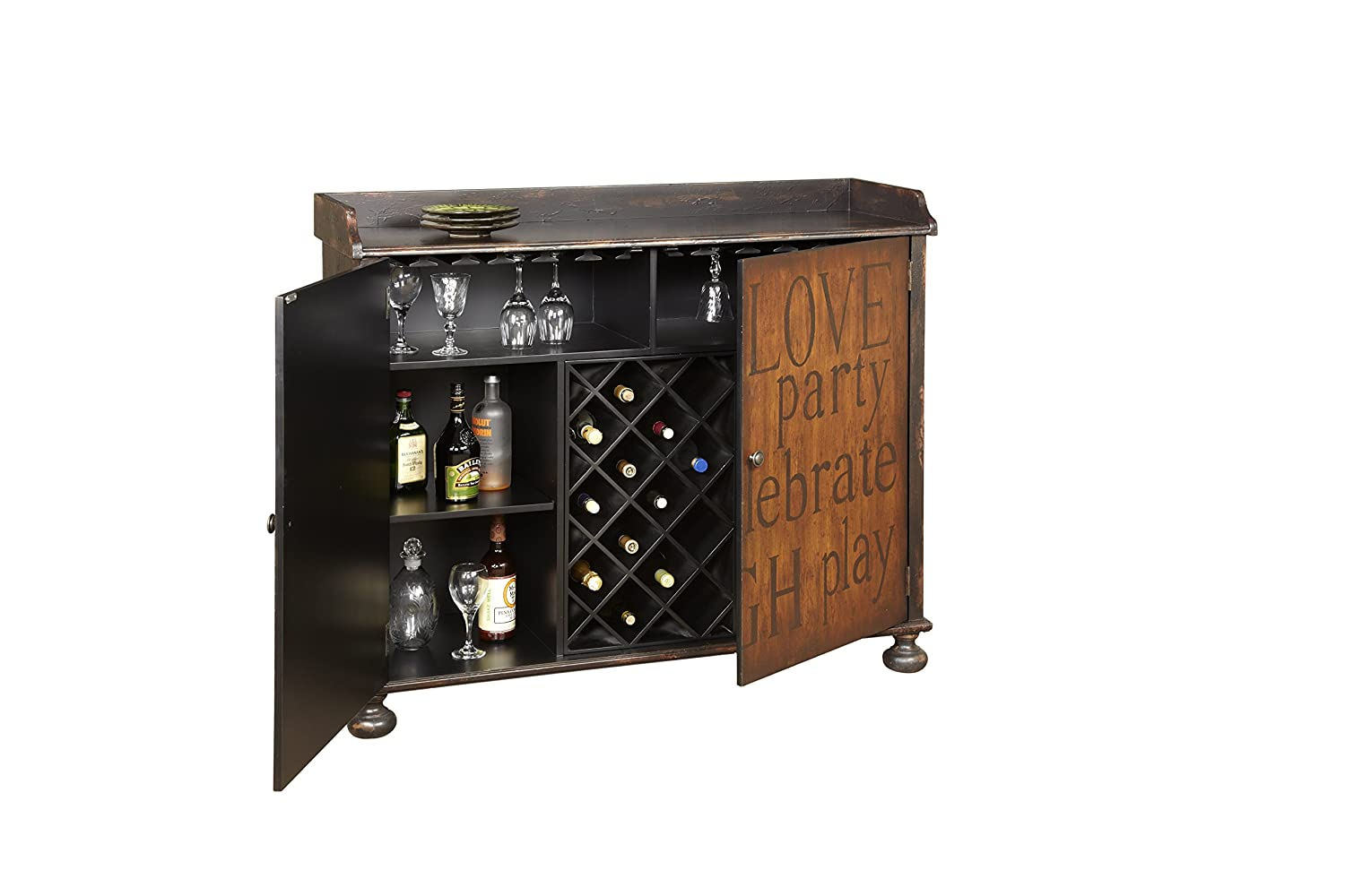 Amazon.com: Pulaski Walden Wine Cabinet, 50 By 17 By 42 Inch, Black/Brown:  Kitchen U0026 Dining