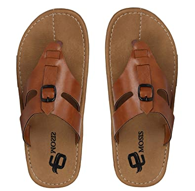 4d908a3e01c4 Emosis Men s Stylish 195 Tan Brown Black Colour Casual Ethnic Formal Office  Slide Slipper Cum Sandal  Buy Online at Low Prices in India - Amazon.in