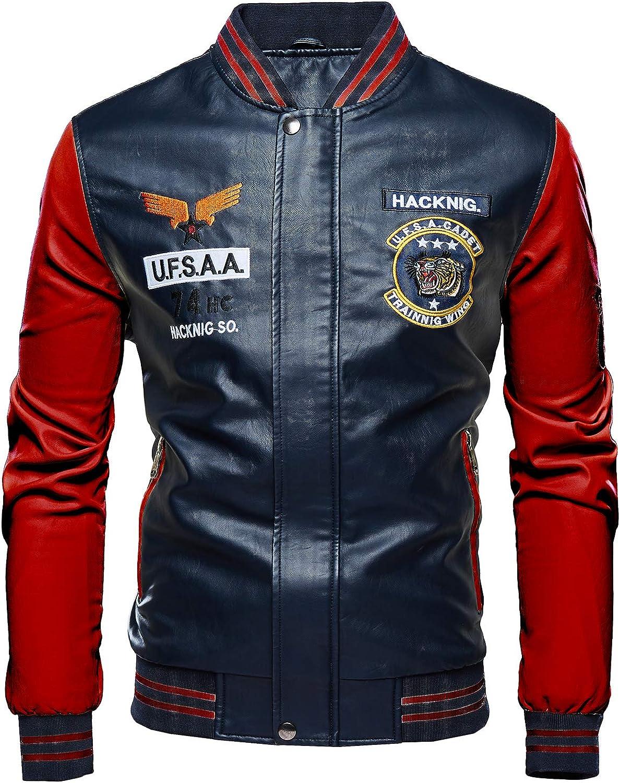 New Youth men/'s slim coat motorcycle leather baseball uniform leather jacket