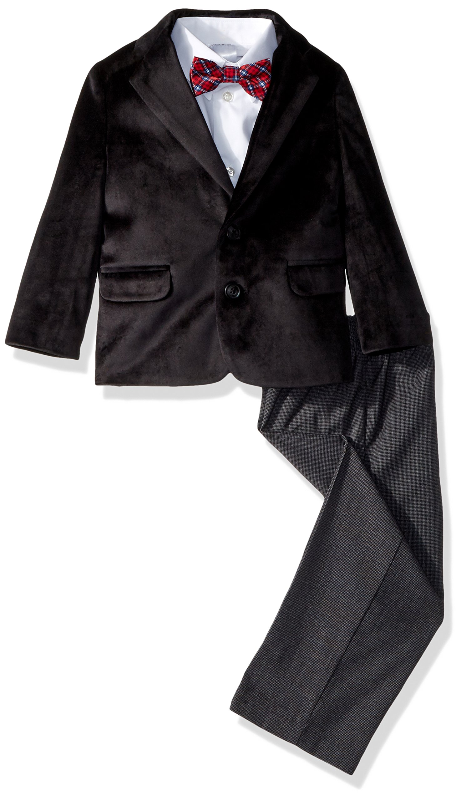 Nautica Boys' Little 4-Piece Formal Dresswear Suit Set with Bow Tie, Black, 7