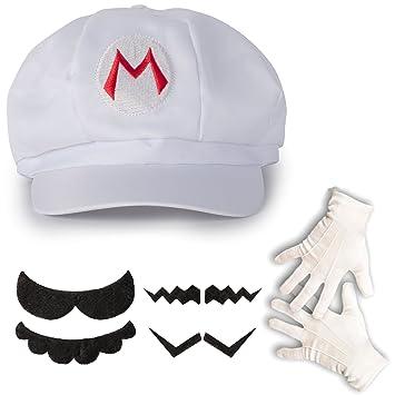e3e331b6c8c898 Katara 1659 - Super Mario Set, Mütze + Schnurrbart + Handschuhe, Kostüm  Verkleidung Fasching