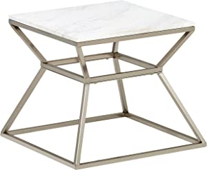 Amazon Brand – Rivet Modern Hourglass White Marble Top and Metal Side End Table Nightstand, 17.9