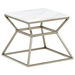 "Rivet Modern Hourglass Marble Top and Metal Side Table, 17.9"" W, Silver Finish"