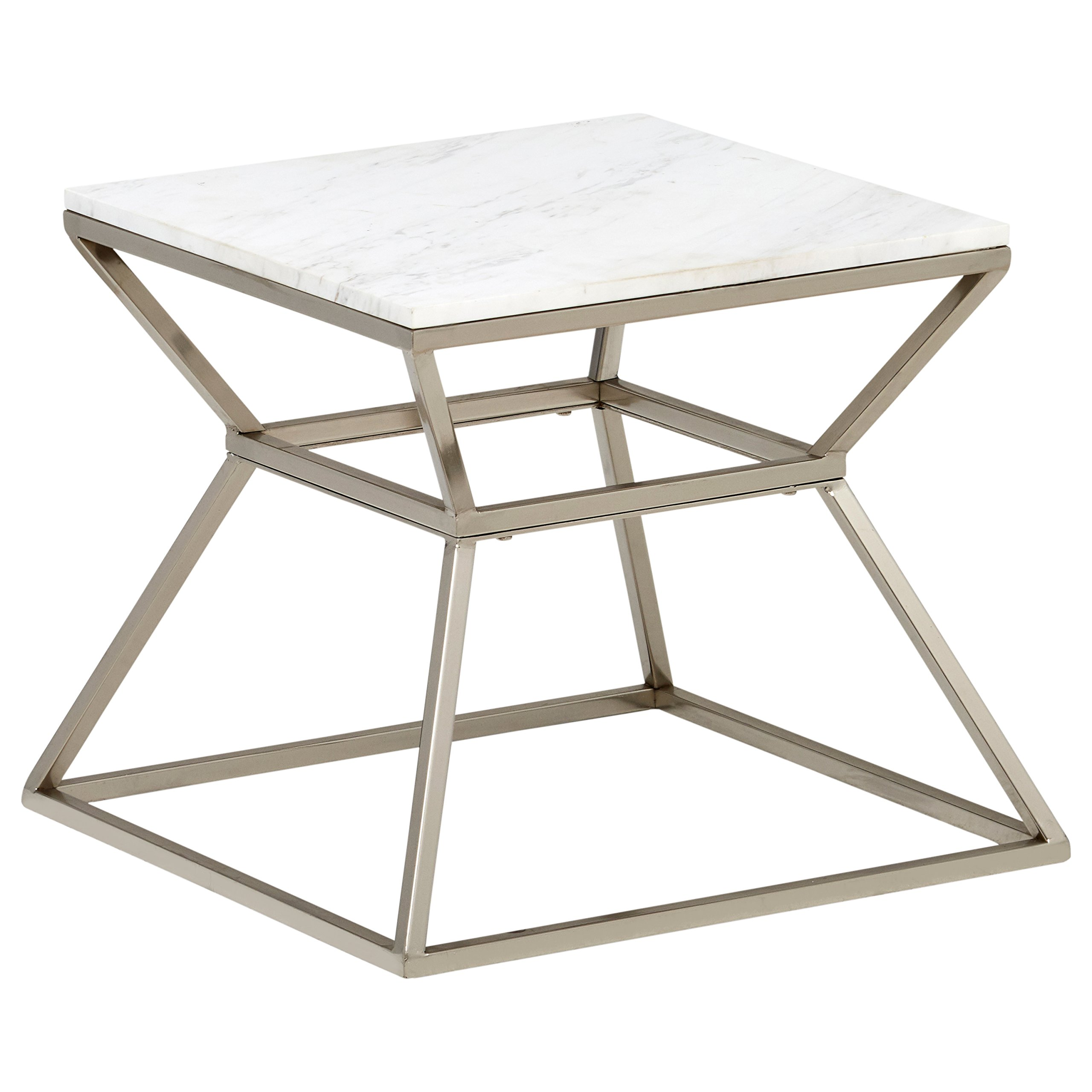 Rivet Modern Hourglass Marble Top and Metal Side Table, 17.9'' W, Silver Finish