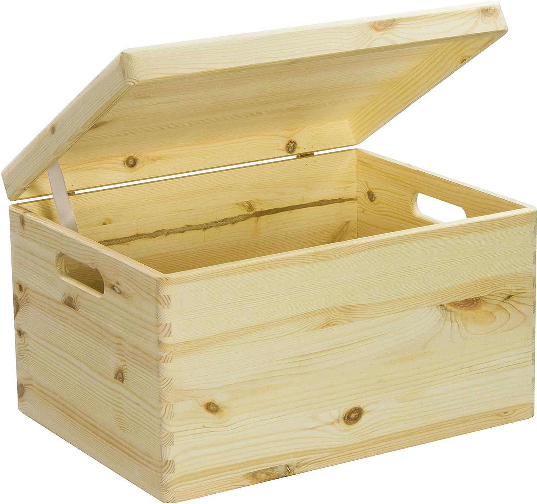 Hojas Lust - Caja de Madera para Guardar en Tamaño XL - Pino sin Tratamiento, Aprox. 40 x 30 x 24 cm - Madera Maciza Certificado FSC: Amazon.es: Hogar