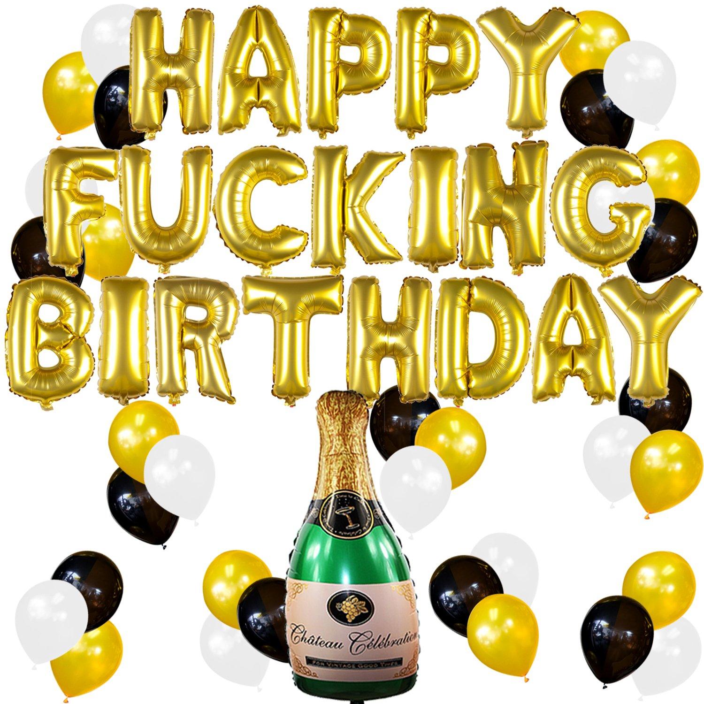 Sterling James Co. Conjunto de Decoraciones y Artículos Divertidos para Fiesta de Cumpleaños de Adultos con Globos Dorados y Botella de Champagne Hinchable ...