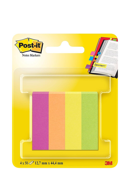 Post-it 670 - Segnapagina adesivi, confezione da 6+3 blocchi da 100 foglietti rettangolari (15 x 50 mm), rosa/verde/giallo/arancione/violetto fluorescente 3MITA 670-6+3