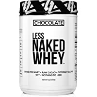 Less Naked Whey Chocolate Protein 1LB - All Natural Grass Fed Whey Protein Powder, Organic Chocolate, and Coconut Sugar - GMO, Soy, and Gluten Free Aid Muscle Growth and Recovery 12 Servings