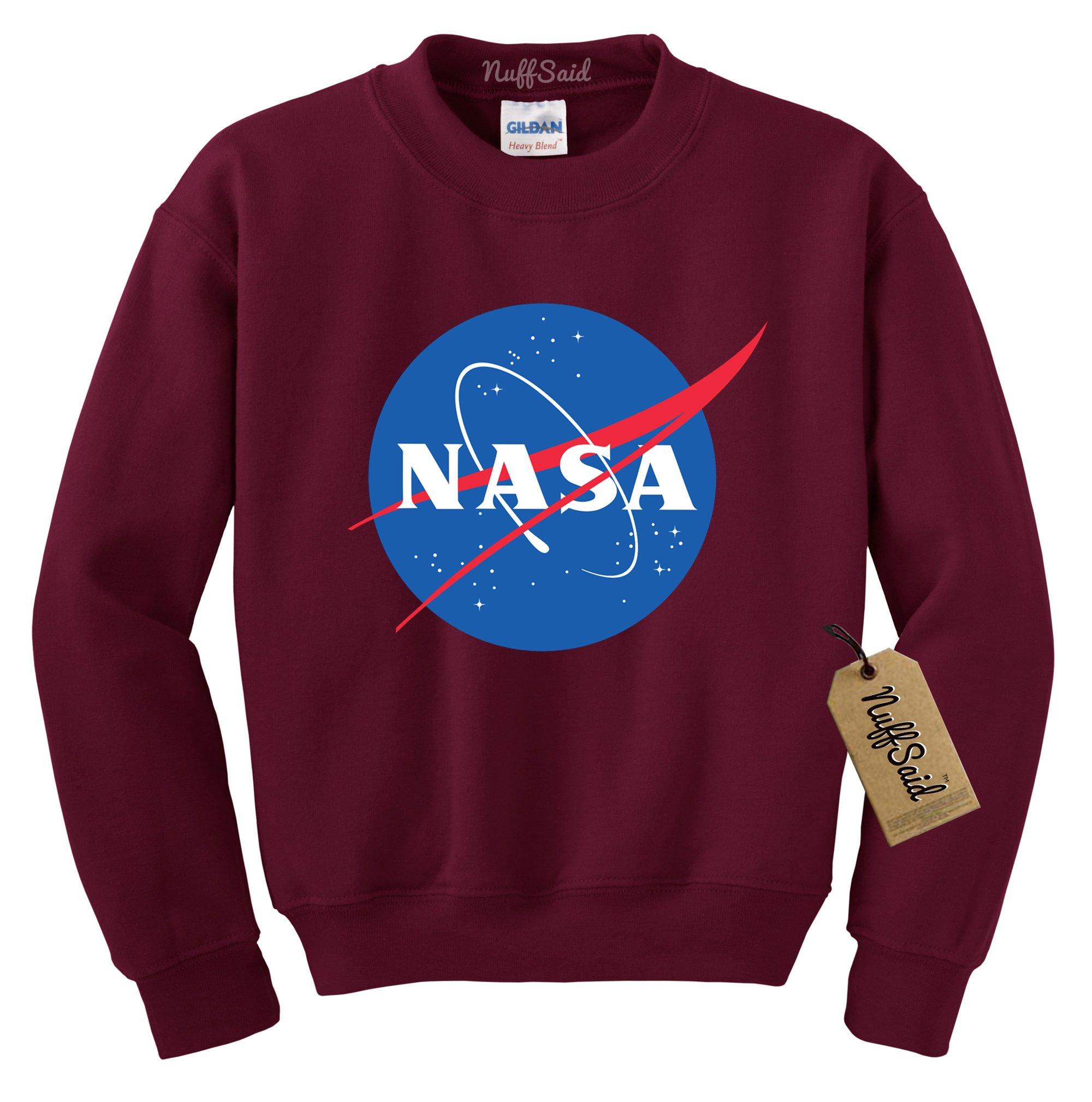 NuffSaid NASA Worm Logo Crewneck Sweatshirt Sweater Pullover - Unisex Crew (Large, Maroon)