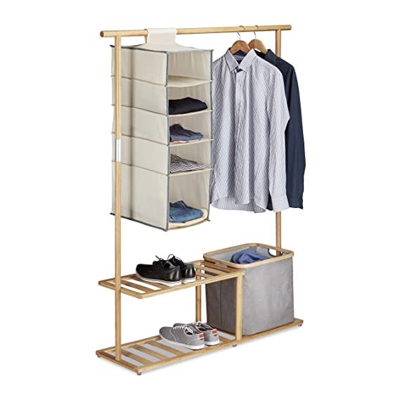 Amazon.com: Relaxdays Bamboo Clothes Stand, Wardrobe with ...