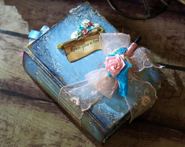 Blush pink Serenity Blue Vintage Guest Book - Fairy Tale Wedding Guestbook - Scrapbook - Alice in Wonderland - Cinderella Book - Shabby chic