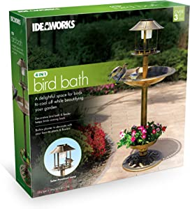 IdeaWorks 4-in-1 Bird Bath & Planter w/Solar Light - Bronze Finish