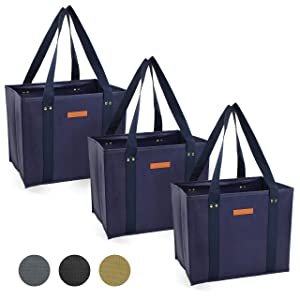 Reusable WASHABLE Grocery Shopping Cart Trolley Bags - set of 3 | Large, Durable, Collapsible Tote with Reinforced Sides and Bottoms (Navy Blue, 3)