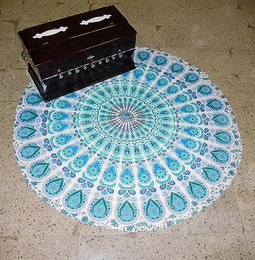 Azul pavo real Mandala Yoga toalla de playa redonda para ...