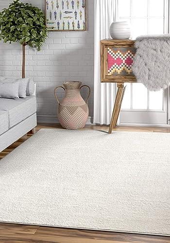 Drexel Shimmer White Solid Color Plain Microfiber 8×11 7 10 x 9 10 Area Rug Ultra Soft Carpet