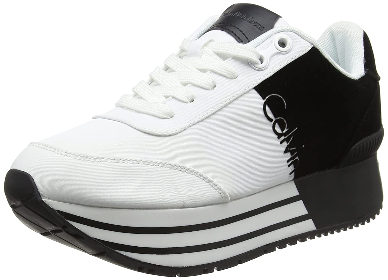 Calvin Klein Jeans Carlita Nylon/Flocking, Zapatillas para Mujer 36 EU|Blanco (Wei/Schwarz)