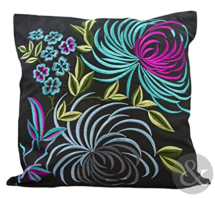 best cheap multiple colors size 40 Colourful TROPICAL CUSHIONS Faux Silk Embroidered Sofa ...