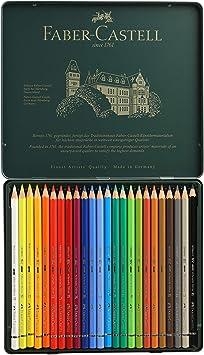Faber-Castell 117524 - Estuche de metal con 24 ecolápices acuarelables, multicolor: Amazon.es: Juguetes y juegos