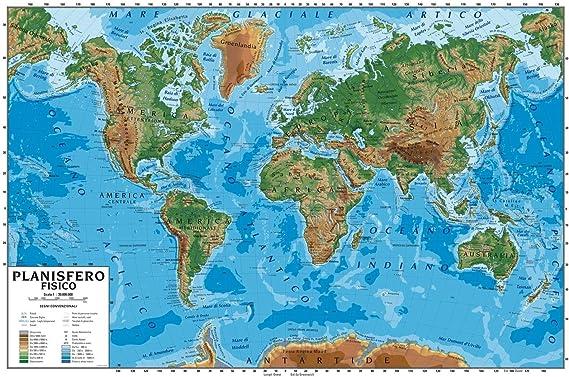 Carta geografica murale planisfero mondo 100x140 scolastica bifacciale  fisica e politica: Amazon.it: Cancelleria e prodotti per ufficio