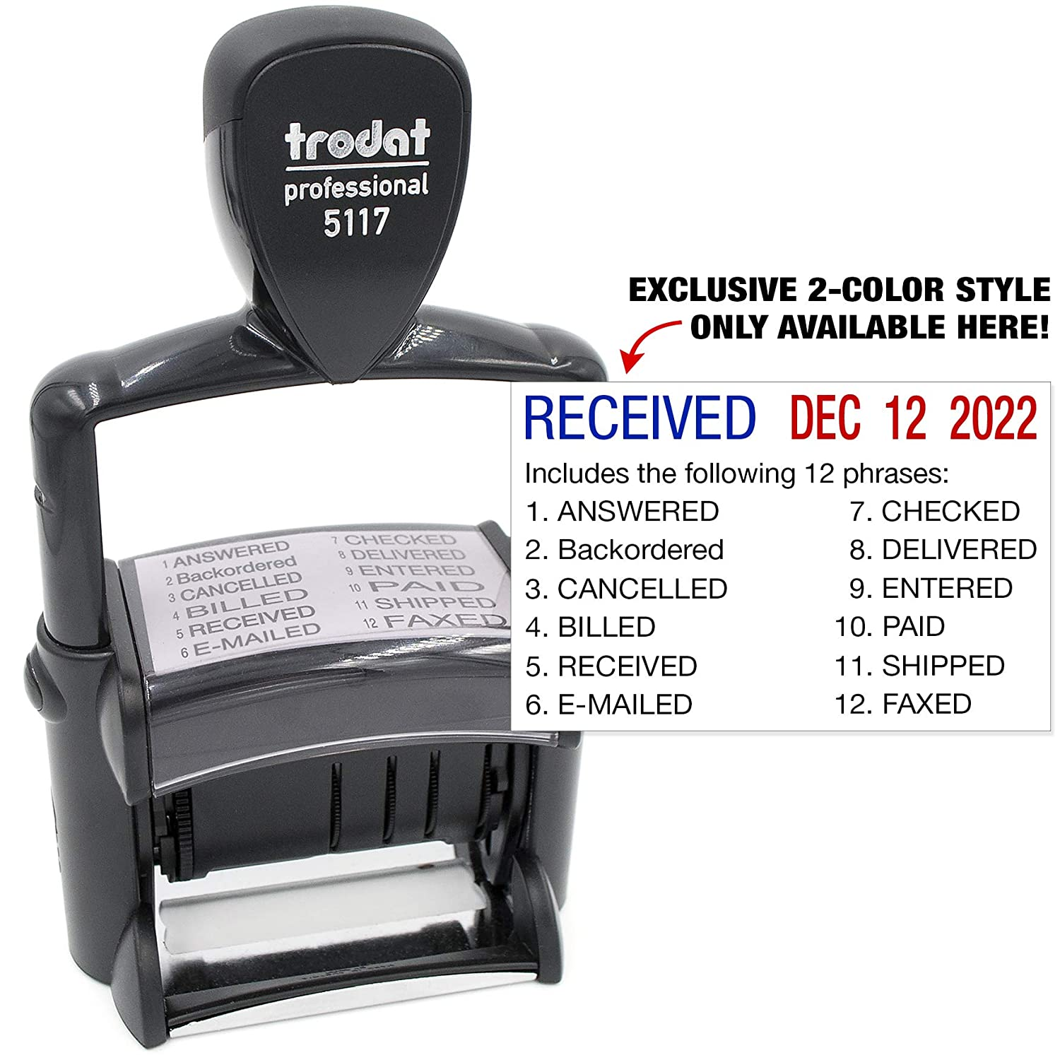 Trodat 5117 Professional 12-Message Stamp w//Dater Blue//Red 2 Color Ink Self-Inking