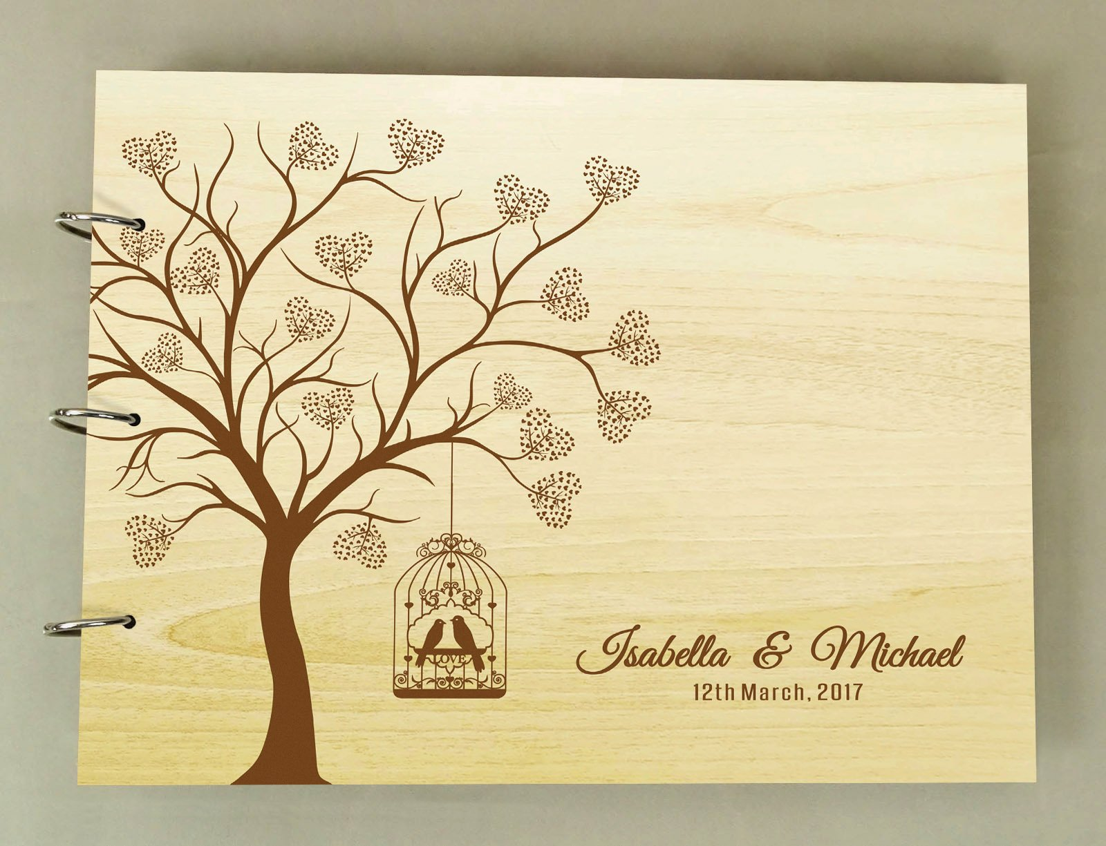 Wedding Guest Book Heart Tree Wood Engraved Name & Date Scrapbook And Lovebirds Photo Album