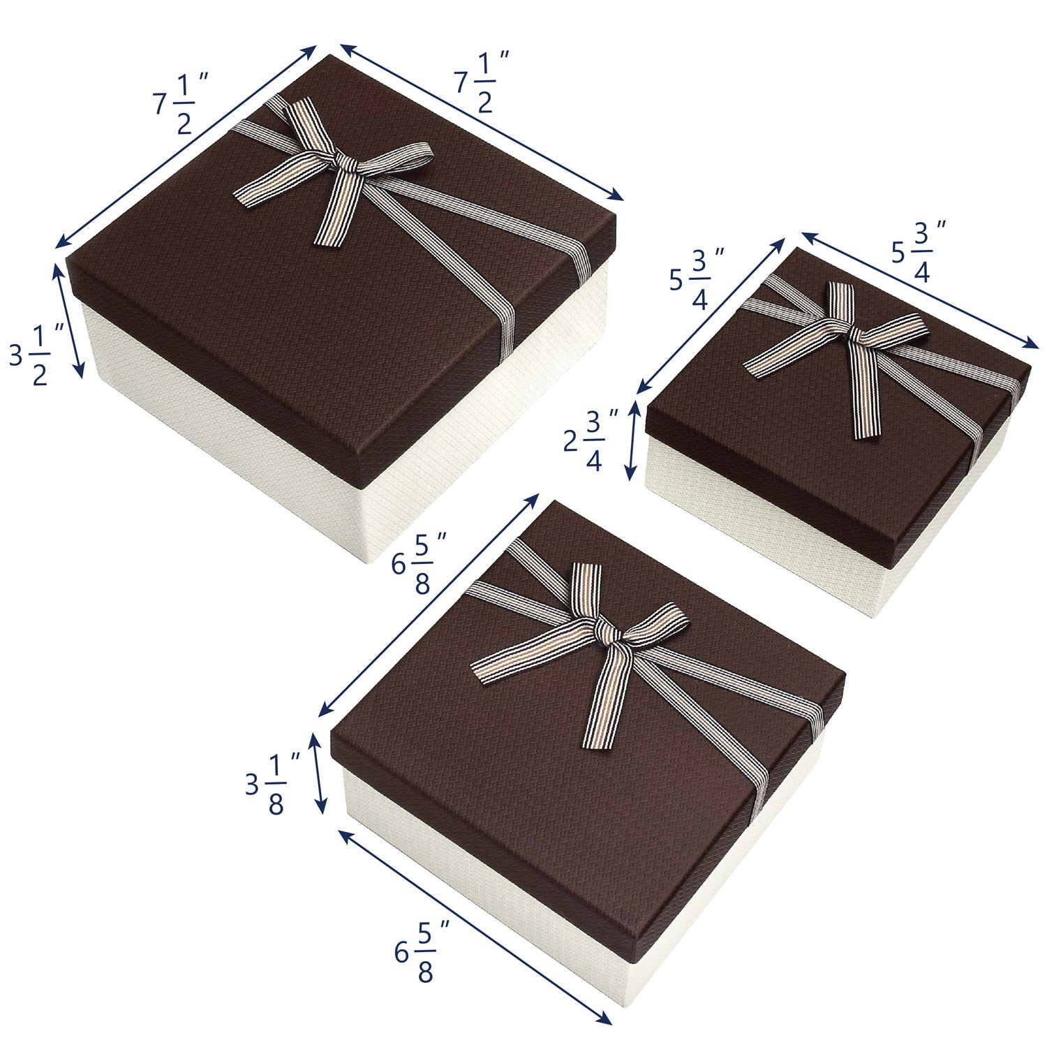 Square Nesting Gift Boxes, A Set of 3,Brown Color with A Bowtie by Ikee Design (Image #4)